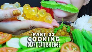 ASMR COOKING GIANT CATFISH EGGS BRAISED WITH PEPPER PART 02, EATING SOUNDS LINH-ASMR