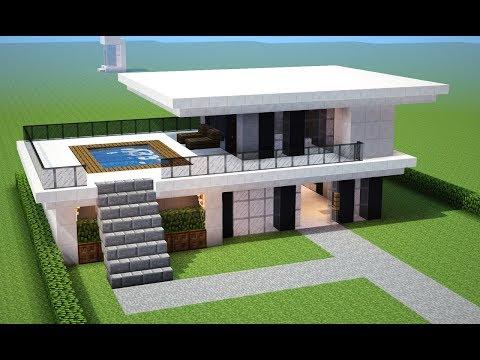 Youtube minecraft tutorial como fazer uma casa moderna for Casa moderna minecraft mirote y blancana
