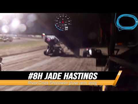 #8H Jade Hastings NOSA Sprint Car On-Board @ River Cities (6/18/21) - dirt track racing video image