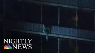 Video Shows Man Scaling Quickly Down 19-Story Philadelphia High-Rise During Fire | NBC Nightly News