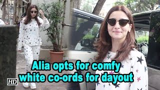Alia opts for comfortable white co-ords for dayout