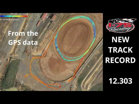 the gps data is based on me drawing the start finish so the time is off slightly - dirt track racing video image