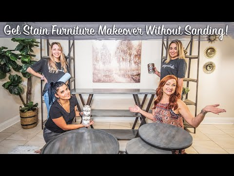Gel Stain Furniture Makeover Without Sanding *FAST EASY DIY* For Beginners