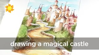 Drawing a Magical Castle in Watercolor Pencils
