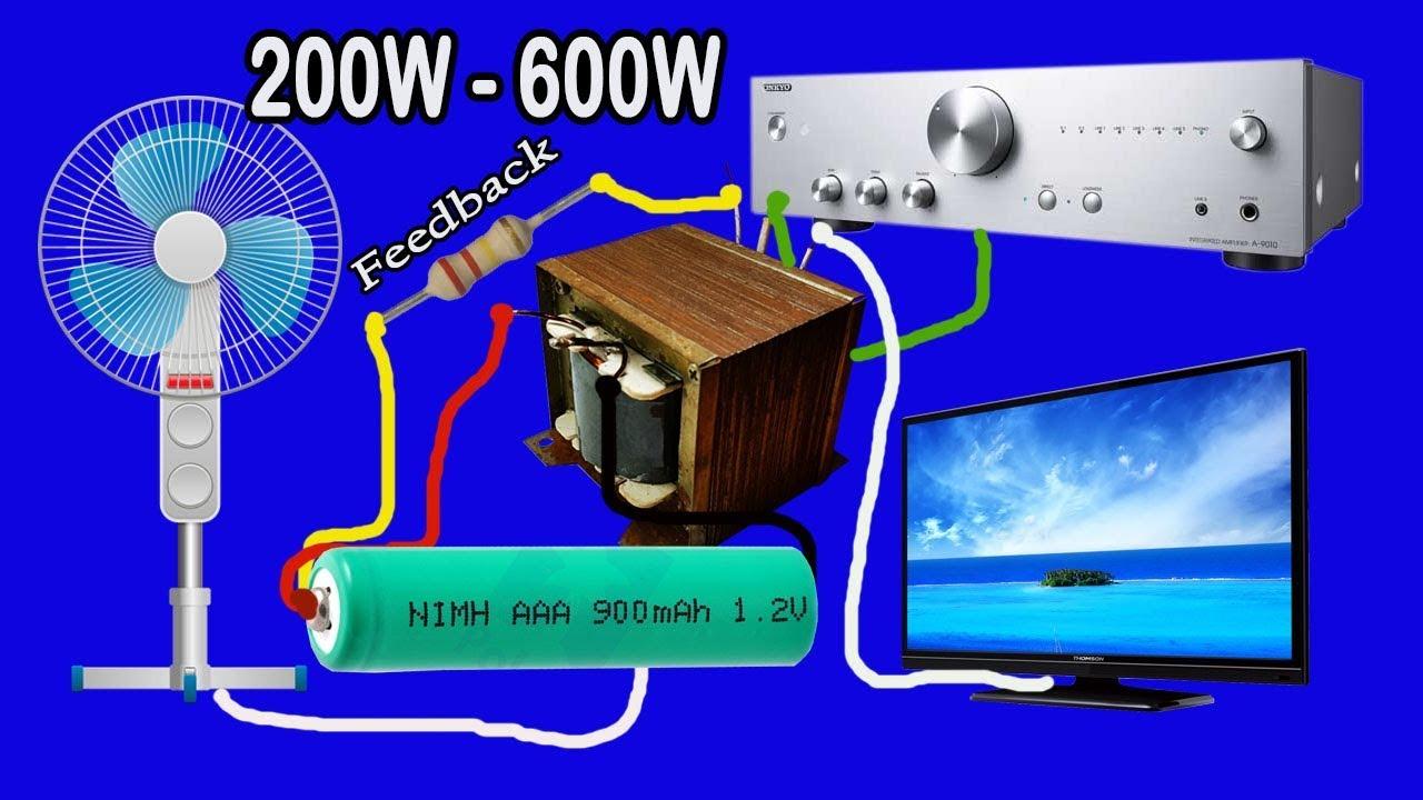 how to make inverter 12v to 220v 200w to 600w with. Black Bedroom Furniture Sets. Home Design Ideas