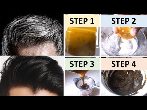 APPLY ONLY 1 TIME AND  TURN WHITE HAIR TO BLACK INSTANTLY 100% WORKS || Natural Home Remedies - default