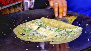 Delicious Green Omelette Tikka | Cheesy Egg Dish With 2 Different Gravy | Indian Street Food