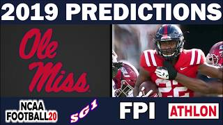 Ole Miss Rebels 2019 Football Predictions - Comparing Sources