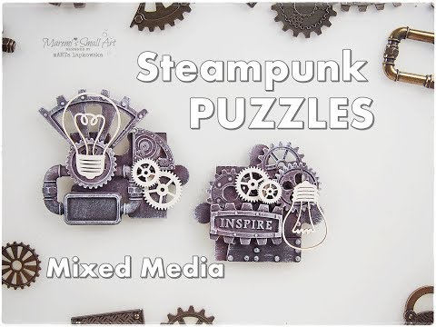 Steampunk Jigsaw Puzzles Tiny Mixed Media Art Tutorial ♡ Maremi's Small Art ♡