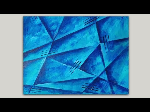 Blue ABSTRACT Painting : EASY Painting Tutorial Demo
