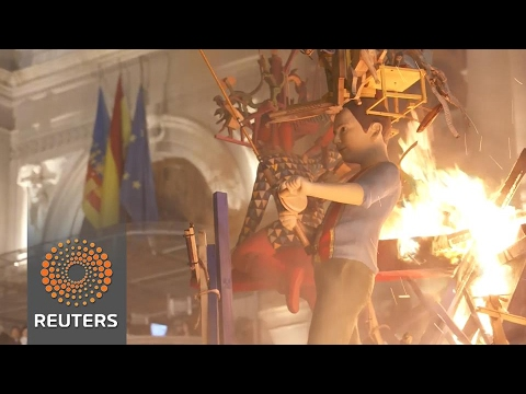 """Spain's """"Fallas"""" festival ends with burning of giant sculptures"""