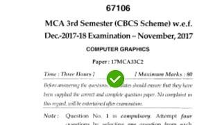 Mdu Computer Graphic MCA 3rd Sem Question Paper #MduQuestionPaper