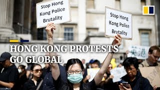 Rival Hong Kong anti-government and pro-China protests around the world