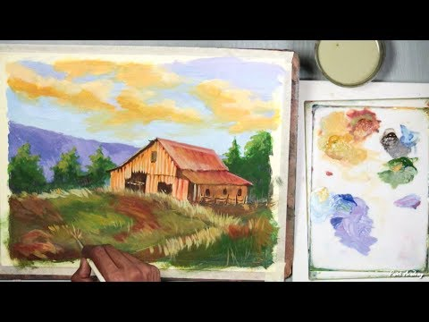 Acrylic Painting | A Mountain House Landscape step by step