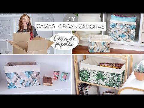 DIY Caixas Organizadoras (transformando caixas de papelão!)