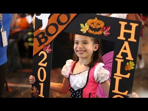 Halloween on the bridge at Texas Children's Hospital