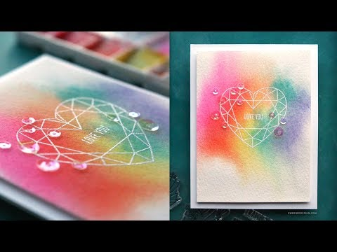 Rainbow Watercolor + Stamped Image