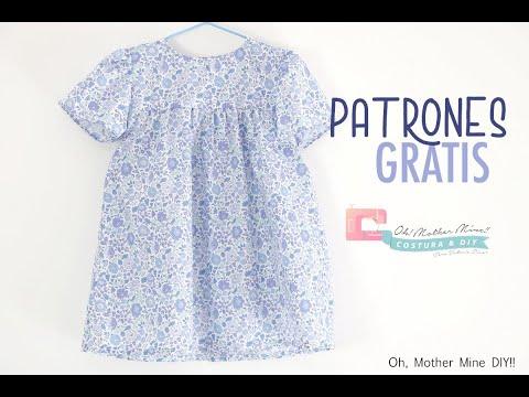 Patrones GRATIS: Vestido azul Liberty para niñas (tallas de 9 meses a 8 años)