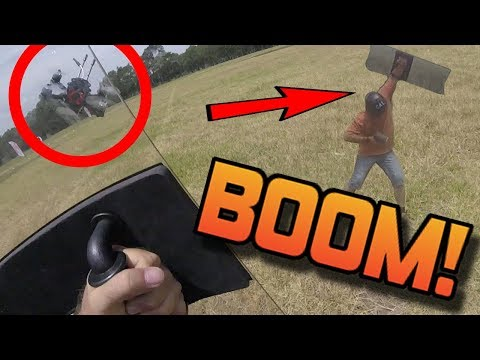RACING DRONE VS RIOT SHIELD at 70MPH! FULL SPEED IMPACT! Hummingbird geprc review - UC3ioIOr3tH6Yz8qzr418R-g
