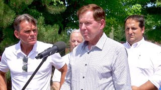 Clinton Currents: News Conference - End of State ACO; Aug. 12th Flood; Golden St. Construction