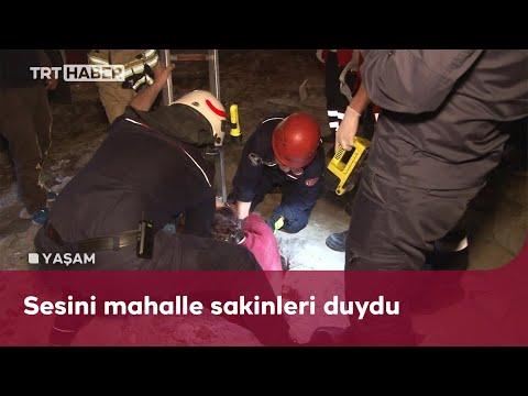 2 metrelik kanalizasyon kuyusuna düşen yaşlı kadını itfaiye kurtardı