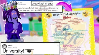 ROYALE UNIVERSITY! COFFEE SHOP AND NEW BREAKFASTS! Royale High Leaks