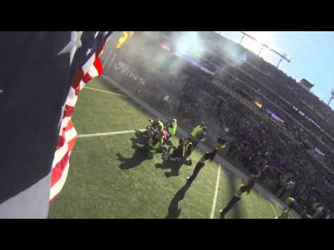 GoPro: Ravens Run Out Of Tunnel With American Flag