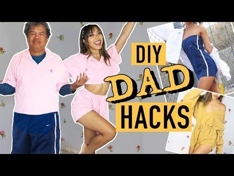 TRANSFORMING MY DAD'S CLOTHES DIY HACKS!   Nava Rose