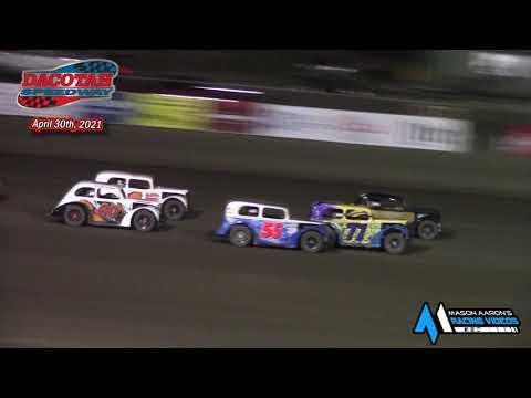 Dacotah Speedway INEX Legends A-Main (4/30/21) - dirt track racing video image