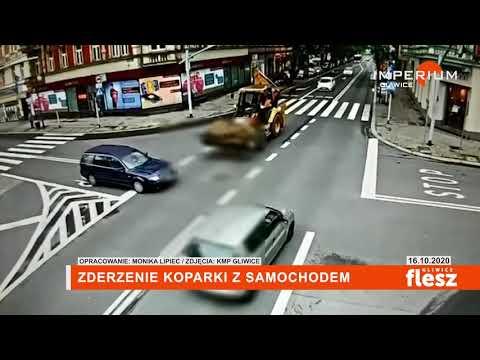 Flesz Gliwice / Zderzenie koparki z samochodem osobowym w centrum Gliwic