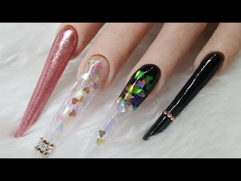 Extreme Length Acrylic Nails - Pink Sweetheart Design - Swarovski Crystals & Chrome Pigment