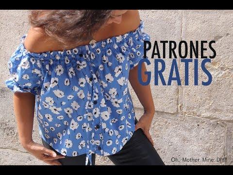 Patrones y costura: Blusa sin hombros para mujer (varias tallas)