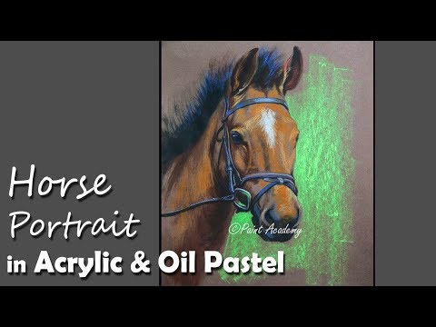 Horse Portrait Painting using Acrylic & Oil Pastel | step by step