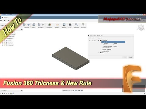 Fusion 360 Sheet Metal Create Rule and Change Thickness Basic Tutorial