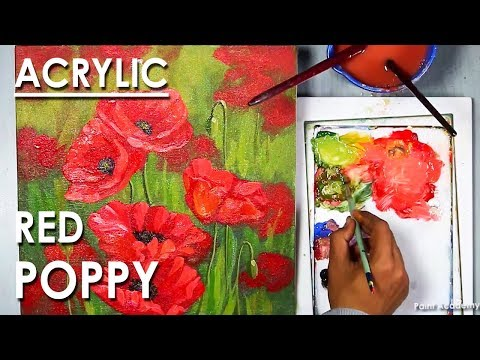 Red Poppy Acrylic Painting on Canvas step by step