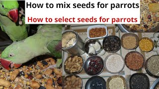 Seeds for Indian Ringneck and Alexander | how to mix seeds for parrot | Select seeds for parrots