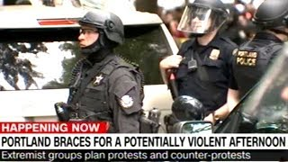Portland Police Working Overtime Keeping Rival Protest Groups Separated!