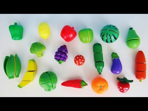 Learn names of fruits and vegetables with toy velcro cutting fruits and vegetables esl asmr