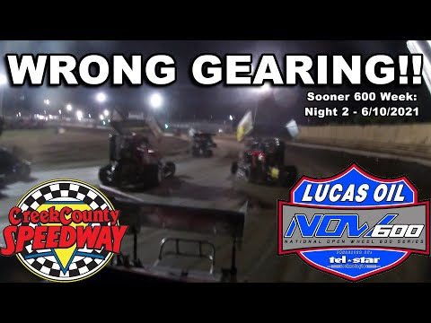WRONG GEARING!! - Lucas Oil NOW600 Sooner 600 Week: Night 2 at Creek County Speedway - 6/10/2021 - dirt track racing video image