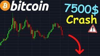 BITCOIN 7500$ CRASH VIOLENT !? btc analyse technique crypto monnaie