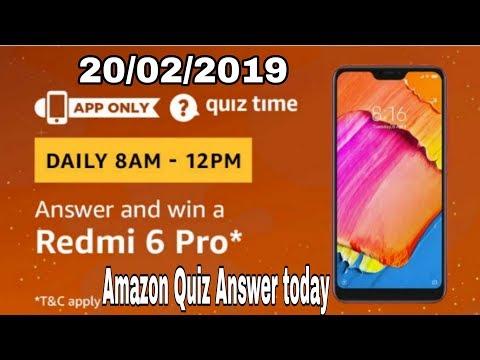 Amazon quiz today answer | win a Redmi 6 pro | 20 February 2019