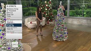 Barbara King 6' Flocked Pre-Lit Pop-Up Tree on QVC