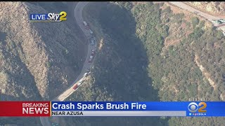 BREAKING: Car Crash Sparks Fire In Angeles National Forest