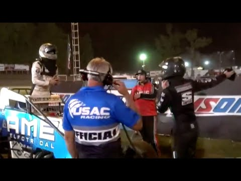 Tempers Flare After Checkered Flag During USAC Indiana Sprint Week - dirt track racing video image