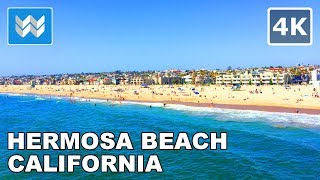 Walking around Hermosa Beach Pier in South Bay Los Angeles, California Travel Guide 🎧 【4K】