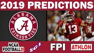 Alabama 2019 Football Predictions - Comparing Sources