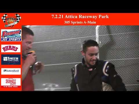 7.2.21 Attica Raceway Park 305 Sprints A-Main - dirt track racing video image