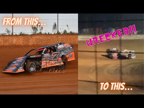 """If ya can't beat 'em, WRECK 'em - Taken out of the $5K to win """"For the Fallen"""" 50 @ Outlaw Speedway - dirt track racing video image"""
