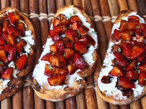 Strawberry Goat Cheese Bruschetta - Grilled Bruschetta with Balsamic Strawberries & Goat Cheese