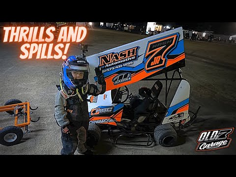 Our little driver experiences his first big wreck! Kart Racing night #4 - Doe Run Raceway - dirt track racing video image